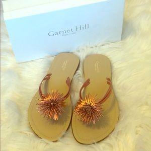 NWOT Garnet Hill Coral 100% Leather Sandals